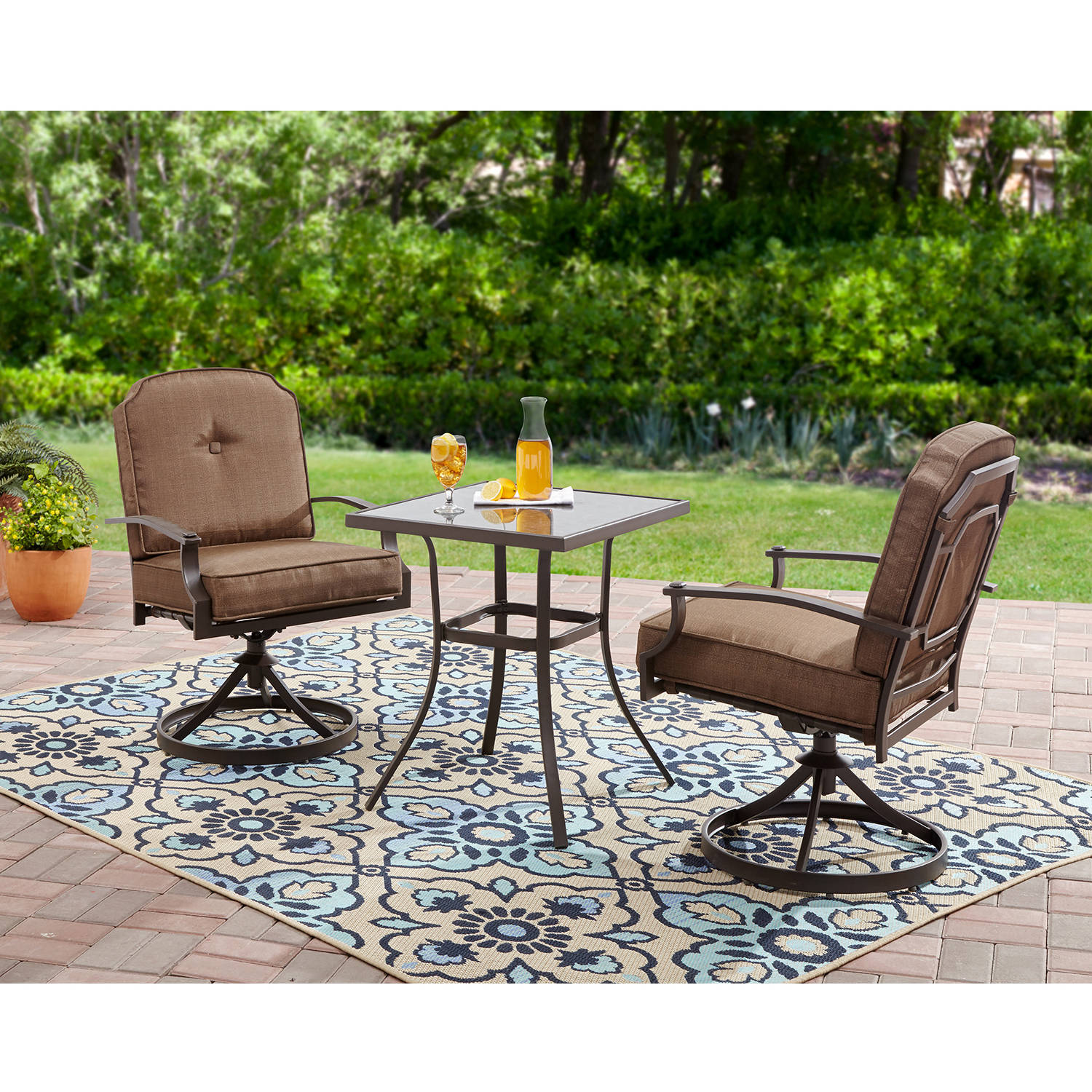 Details About 3 Piece Outdoor Patio Furniture Set Bistro Garden Yard Durable Steel Table Chair