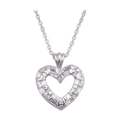 - Baguette And Round Clear Cubic Zirconia Double Heart Necklace Sterling Silver 16
