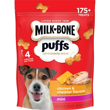 - Milk-Bone Puffs Crunchy Dog Treats, Chicken and Cheddar Flavor, Mini Size, 8-Ounce Bag
