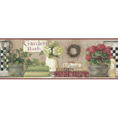 Garden Bath Wall Border, Soft Linen-Taupe/Hint Of Red/Green/Black, Beige