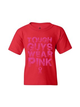 Shop4Ever Youth Tough Guys Wear Pink Breast Cancer Awareness Graphic Youth T-Shirt