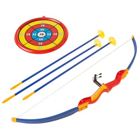 Kids Bow and Arrow Set with 3 Suction Cup Arrows, Target - Safe Toy Archery Game Kit for Boys and Girls By Hey! Play! - Bow & Arrow Set