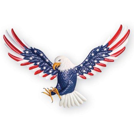 Patriotic Soaring Eagle Metal Indoor Outdoor Wall Art