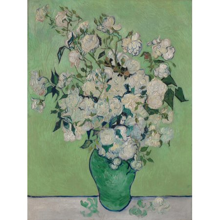 A Vase of Roses, 1890 Post-Impressionist Mint Green and White Flower Still Life Print Wall Art By Vincent van Gogh