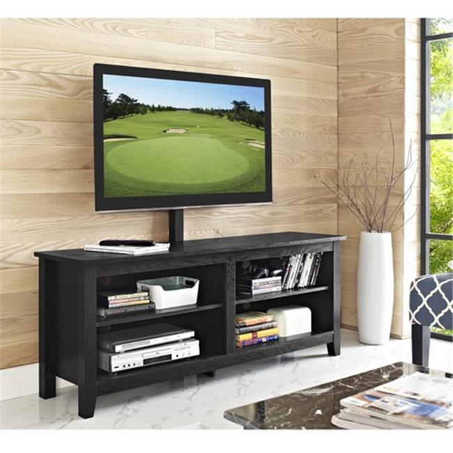 Walker Edison Wood TV Console with Mount in Black