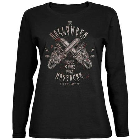Ut Halloween Jersey (Halloween Chainsaw Massacre Bloody Horror Ladies' Jersey Long-Sleeve)