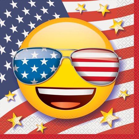 Emoji Patriotic Paper Luncheon Napkins, 6.5