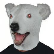Star Power Polar Bear w Furry Ears Animal Head Mask, White Black, Adult Size