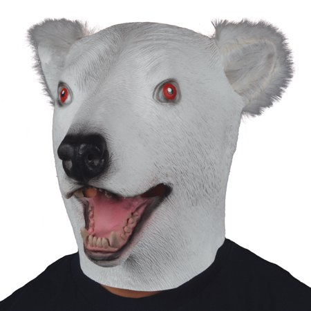 Star Power Polar Bear w Furry Ears Animal Head Mask, White Black, Adult Size - Furry Masks
