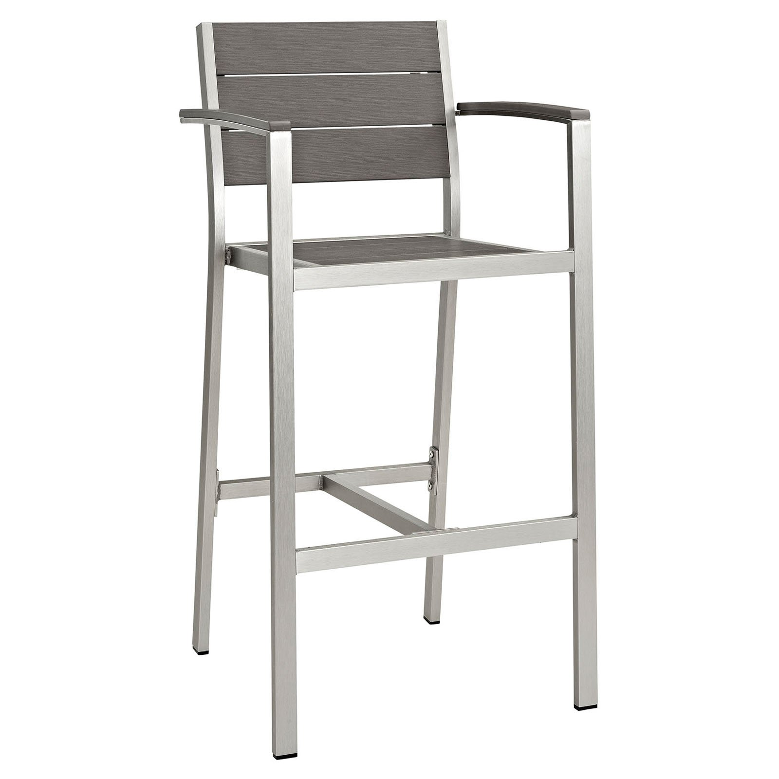 Modway Shore Outdoor Patio Aluminum Bar Stool, Silver/Gray