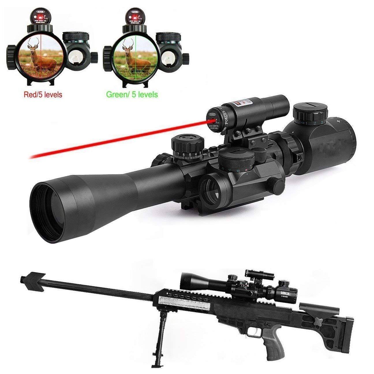 Cvlife 3-9X40 Illuminated Tactical Rifle Scope with Red Laser & Holographic Dot Sight