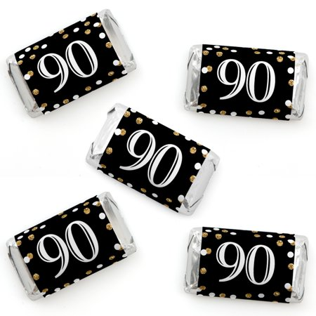 Adult 90th Birthday - Gold - Mini Candy Bar Wrapper Stickers - Birthday Party Small Favors - 40 Count