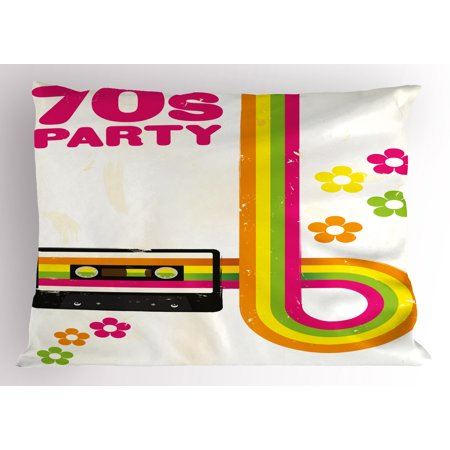 70s Party Pillow Sham Party Flyer Inspired Cute and Curved Stripes with Daisies Audio Cassette Tape, Decorative Standard Size Printed Pillowcase, 26 X 20 Inches, Multicolor, by (70s Inspired)