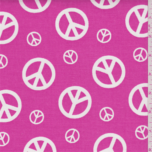Peace Candy Pink/White Duck Canvas, Fabric By the Yard