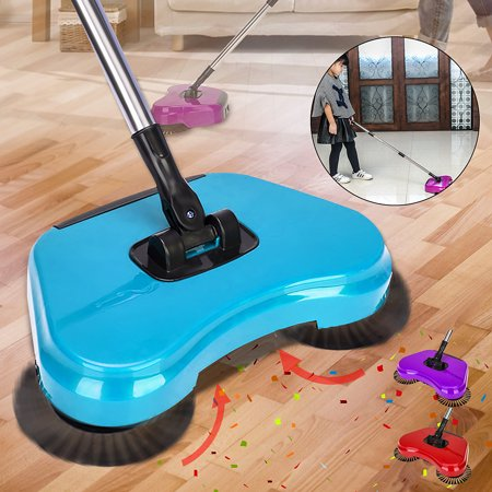 Home Household Automatic Spin Hand Push Sweeper Broom Floor Dust Cleaning Mop without Electricity,Blue,Purple,Red