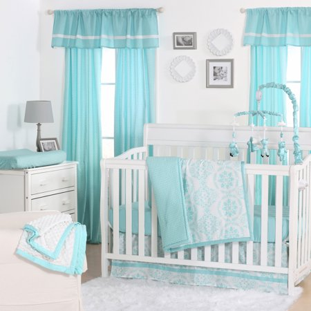 The Peanut Shell 4 Piece Baby Crib Bedding Set Teal Blue Turquoise Fl Medallions