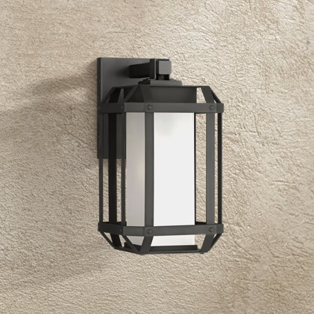 John Timberland Modern Outdoor Wall Light Fixture Black Geometric Cage 11 1 2 Etched Glass For Exterior House Porch Patio Deck