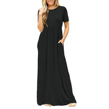 Women Long Maxi Dress Casual Plus Size Fashion Dresses Baggy Black