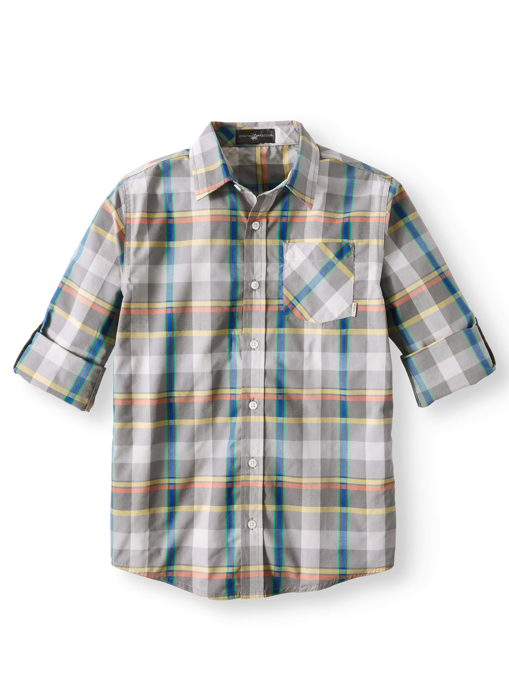 Beverly Hills Polo Club Plaid Long Sleeve Woven Shirt (Big Boys)