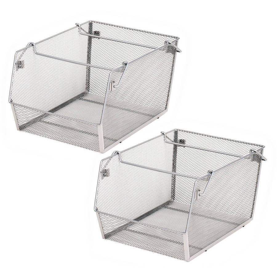 Seville Classics Mesh Stacking Bins, 2 Pack, Medium Size