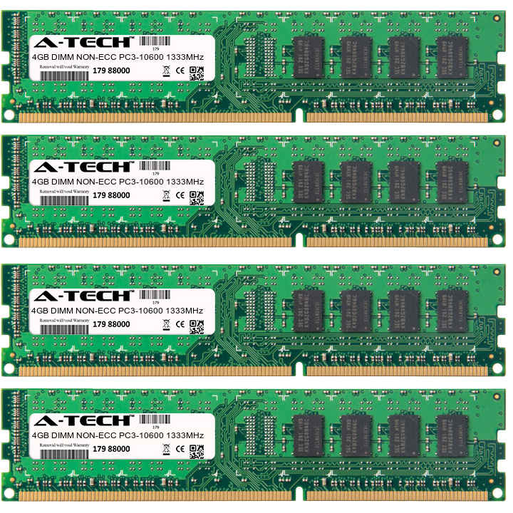 16GB Kit 4x 4GB Modules PC3-10600 1333MHz NON-ECC DDR3 DIMM Desktop 240-pin Memory Ram