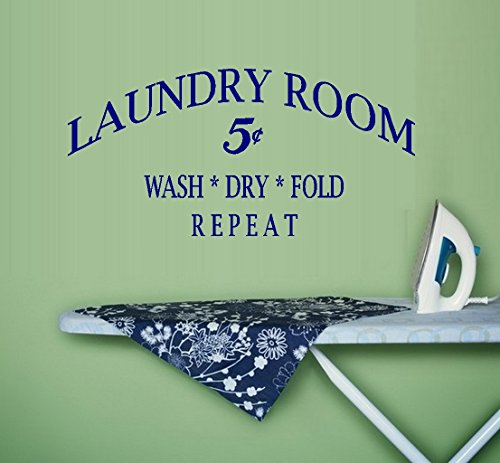 """Decal ~ LAUNDRY Wash Dry Fold REPEAT: Wall or Window Decal 12:"""" x 25"""" (Black)"""