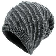 Men Chic Textured Stripes Pattern Knitted Beanie Hat Dark Gray