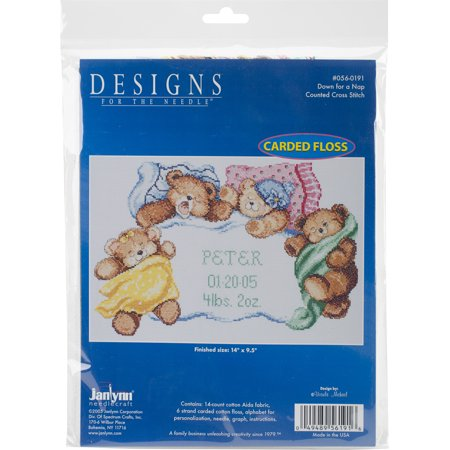Janlynn Down For A Nap Sampler Counted Cross Stitch Kit, 14