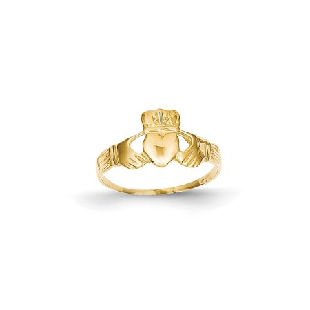 Solid 14k Yellow Gold Ladies Claddagh Ring (6mm) - Size 4