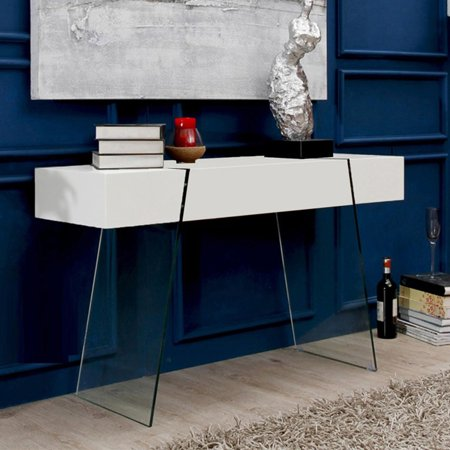 Casabianca Home Il Vetro Cabana Collection High Gloss White Lacquer Console Table