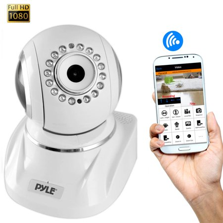 PYLE PIPCAMHD82WT - IP Cam / WiFi Security Camera, Full HD 1080p with Remote Surveillance Monitoring, Pan/Tilt Controls, App Download (White)