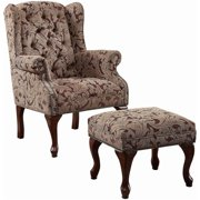 Bowery Hill Wing Back Accent Chair and Ottoman in Brown