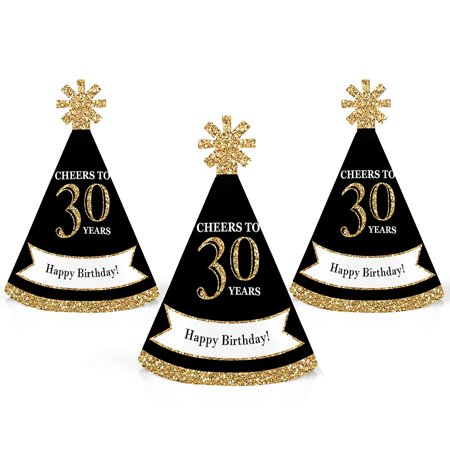Adult Birthday Hats (Adult 30th Birthday - Gold - Mini Cone Birthday Party Hats - Small Little Party Hats - Set of)