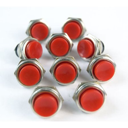 10 Pack Red Push Button Momentary switch Normally open contact  1-pole 3 A, 125V