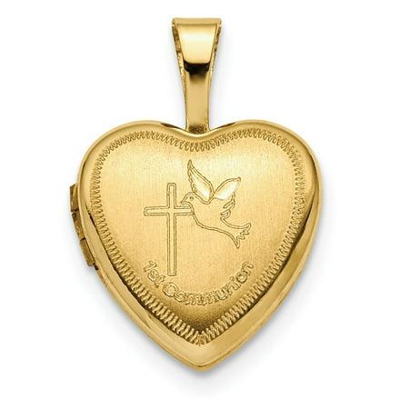Roy Rose Jewelry 14k Yellow Gold 12mm 1st Communion Heart Locket