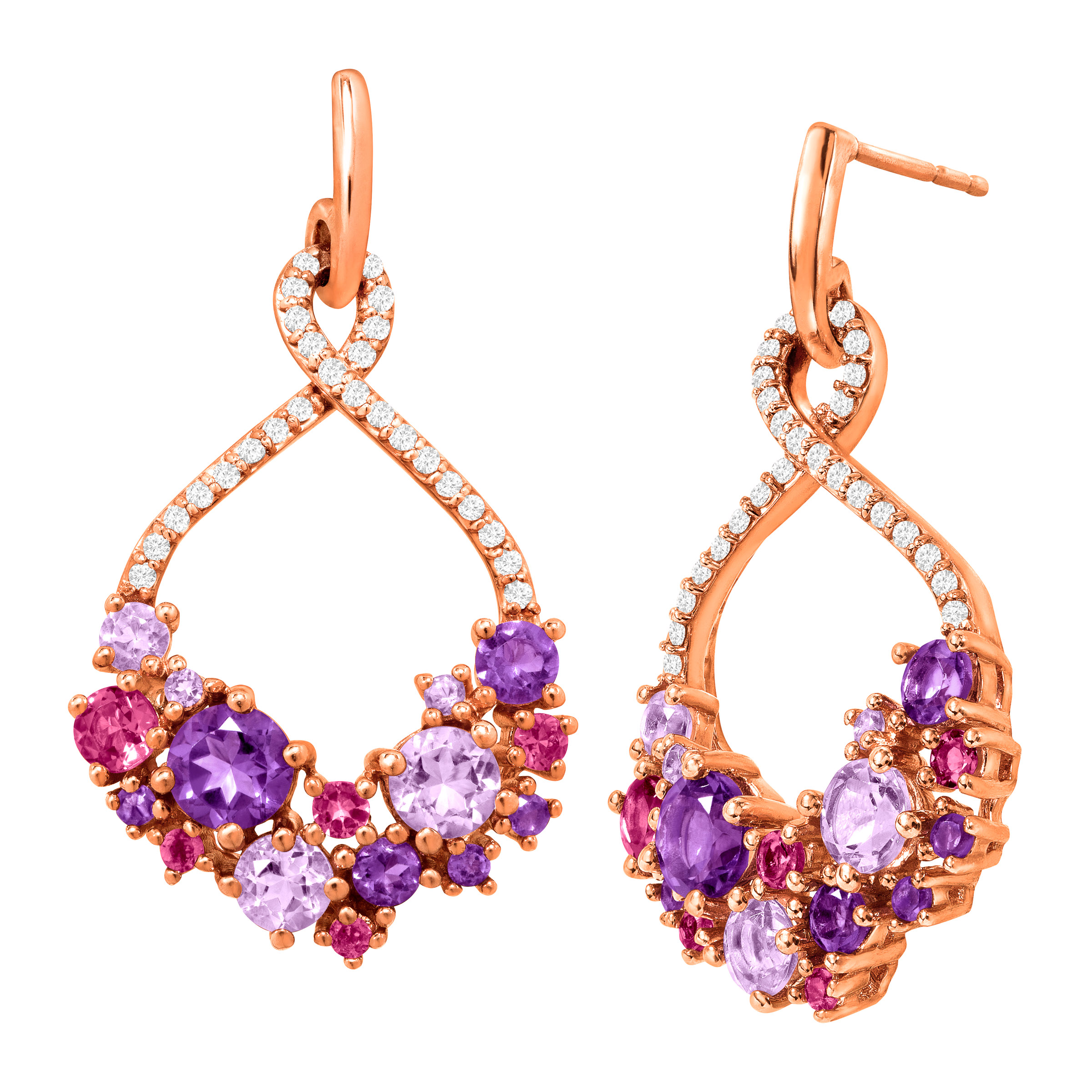 2 7 8 ct Natural Amethyst & Pink Tourmaline Drop Earrings in 18kt Rose Gold-Plated Sterling Silver by Richline Group