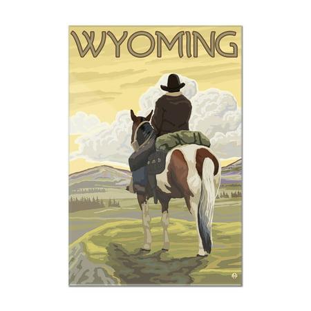 Wyoming - Cowboy & Horse - Lantern Press Artwork (8x12 Acrylic Wall Art Gallery Quality)