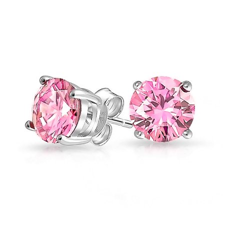 1Ct Pink Round Cubic Zirconia Brilliant Cut Solitaire AAA CZ Stud Earrings For Women 925 Sterling Silver Simulated Topaz