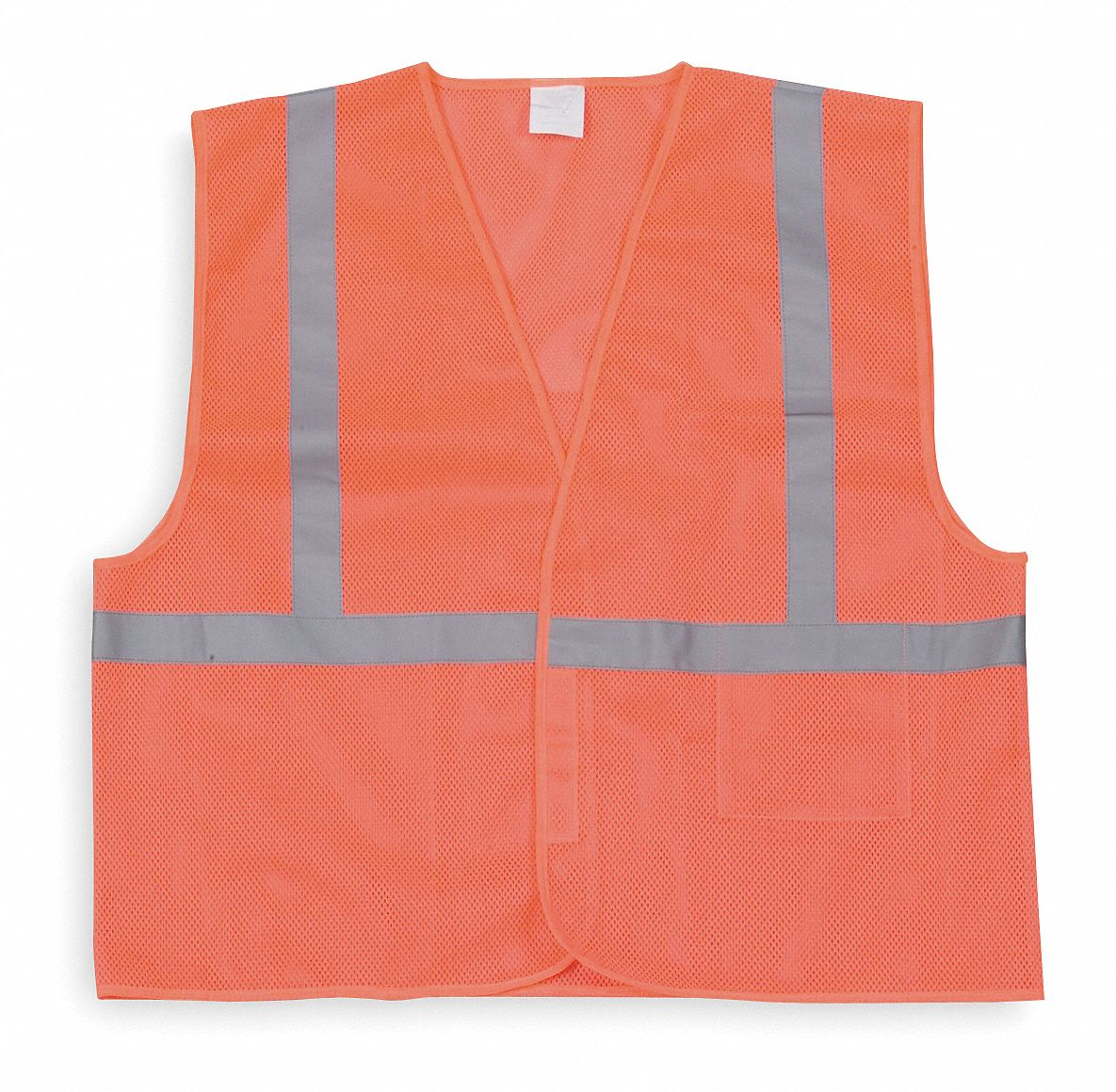 Orange/Red with Silver Stripe Traffic Vest, ANSI 1, Hook-and-Loop Closure, L