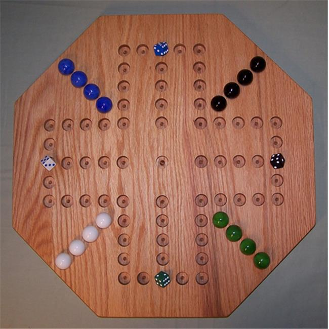 THE PUZZLE-MAN TOYS W-1927 Wooden Marble Game Board - Aggravation - 18 in. Octagon - 4-Player  5-Hole - Red Oak