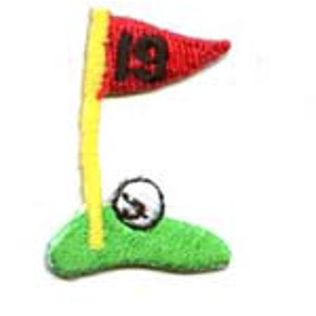 - Small/Mini - 19th Hole - Golf Flag on Green - Iron on Applique/Embroidered Patch