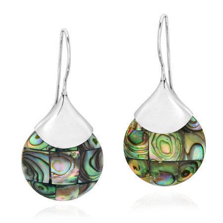 Chic Rounded Teardrops of Mosaic Abalone Shell Sterling Silver Dangle - Round Shell Drop