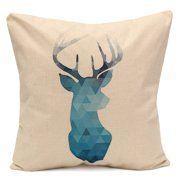 Blue Deer Simple Style Couch Cushion Pillow Covers 18x18 Square Zippered Cotton Linen Standard Decorative Throw Pillow Covers Slip Case Protector for Sofa Chair Seat  Patio,