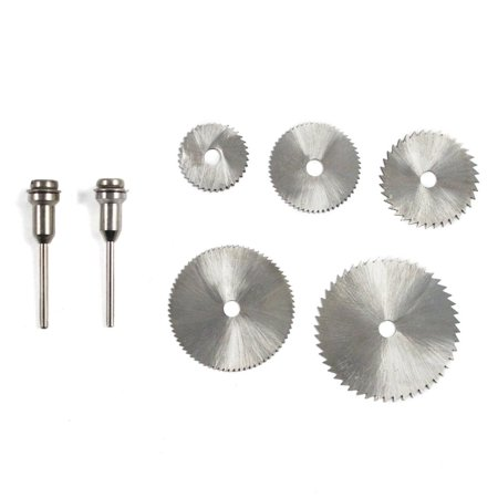 0.375' Hole Saw Mandrel (5pc High Speed Steel Saw Blades And 2 Mandrels 1/4 Inch Arbor Size .8mm Assorted)