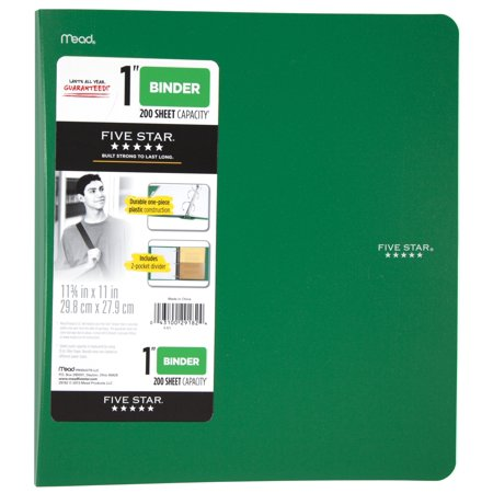 Five Star 1 Inch Poly Binder  Green  1 Count