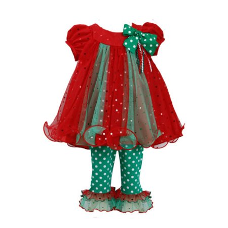 Bonnie Jean Little Girls Holiday Christmas Santa red Outfit Dress 2pc Set 6X