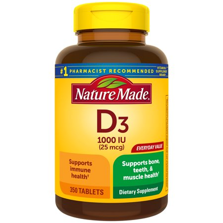 Nature Made Vitamin D3 1000 IU (25 Mcg) Supplement Tablets, 350 Count