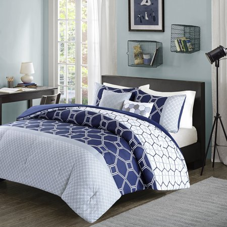 Clara Comforter Set Navy Fullqueen Invite A Modern Touch To Your