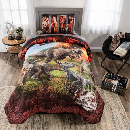 Jurassic World Bed in a Bag, Kids Bedding Bundle Set, Microfiber, Dinosaurs, 4-Piece TWIN