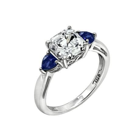 Gemour Platinum Plated Sterling Silver Swarovski Zirconia 3-Stone Asscher-Cut and Created Sapphire Ring Size 5 Asscher Sapphire Ring